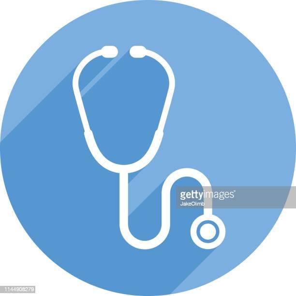 illustrazioni stock, clip art, cartoni animati e icone di tendenza di stetoscopio icona silhouette circle - stetoscopio