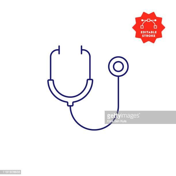 illustrazioni stock, clip art, cartoni animati e icone di tendenza di icona stetoscopio con tratto modificabile e pixel perfetto. - stetoscopio