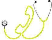 Stethoscope in shape of telephone in yellow design