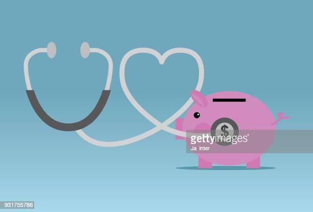 stethoscope piggy bank financial - savings stock illustrations