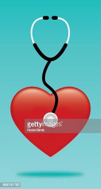 ilustraciones, imágenes clip art, dibujos animados e iconos de stock de estetoscopio rojo corazón - cardiólogo
