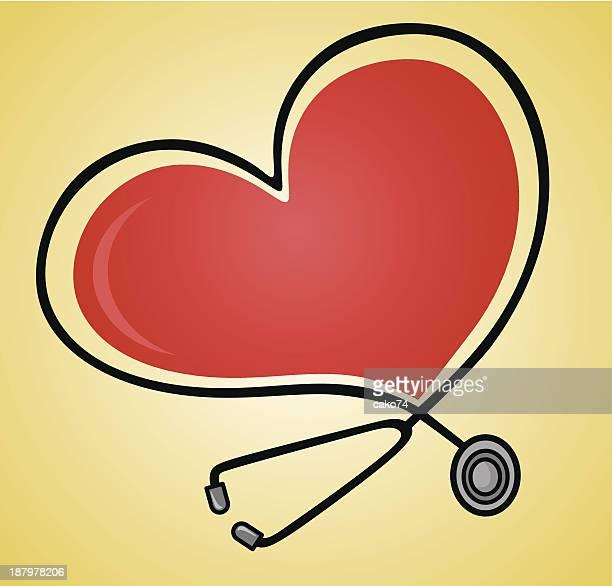 stethoscope - myocardium stock illustrations, clip art, cartoons, & icons