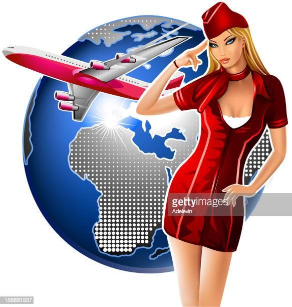 Stewardess Airplane and Globe