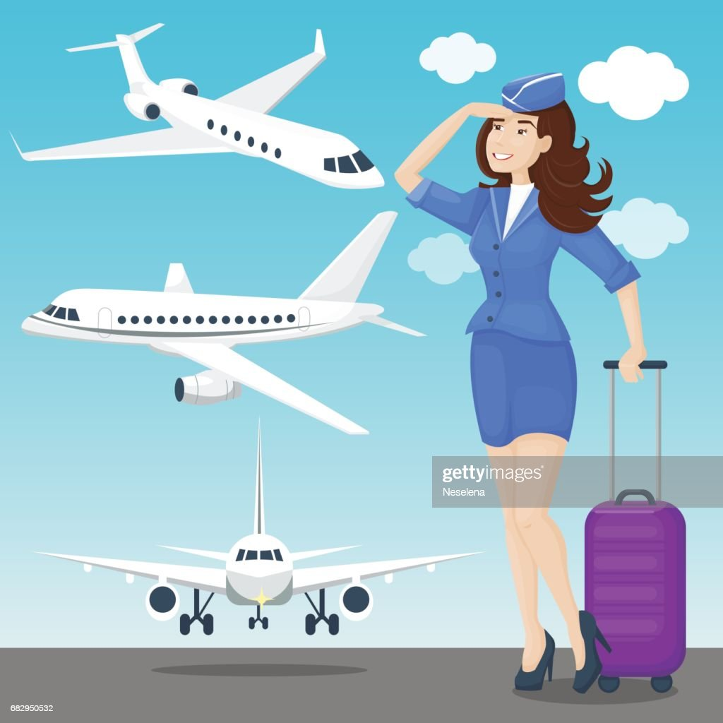 Stewardess brunette and plane set in blue and white colors