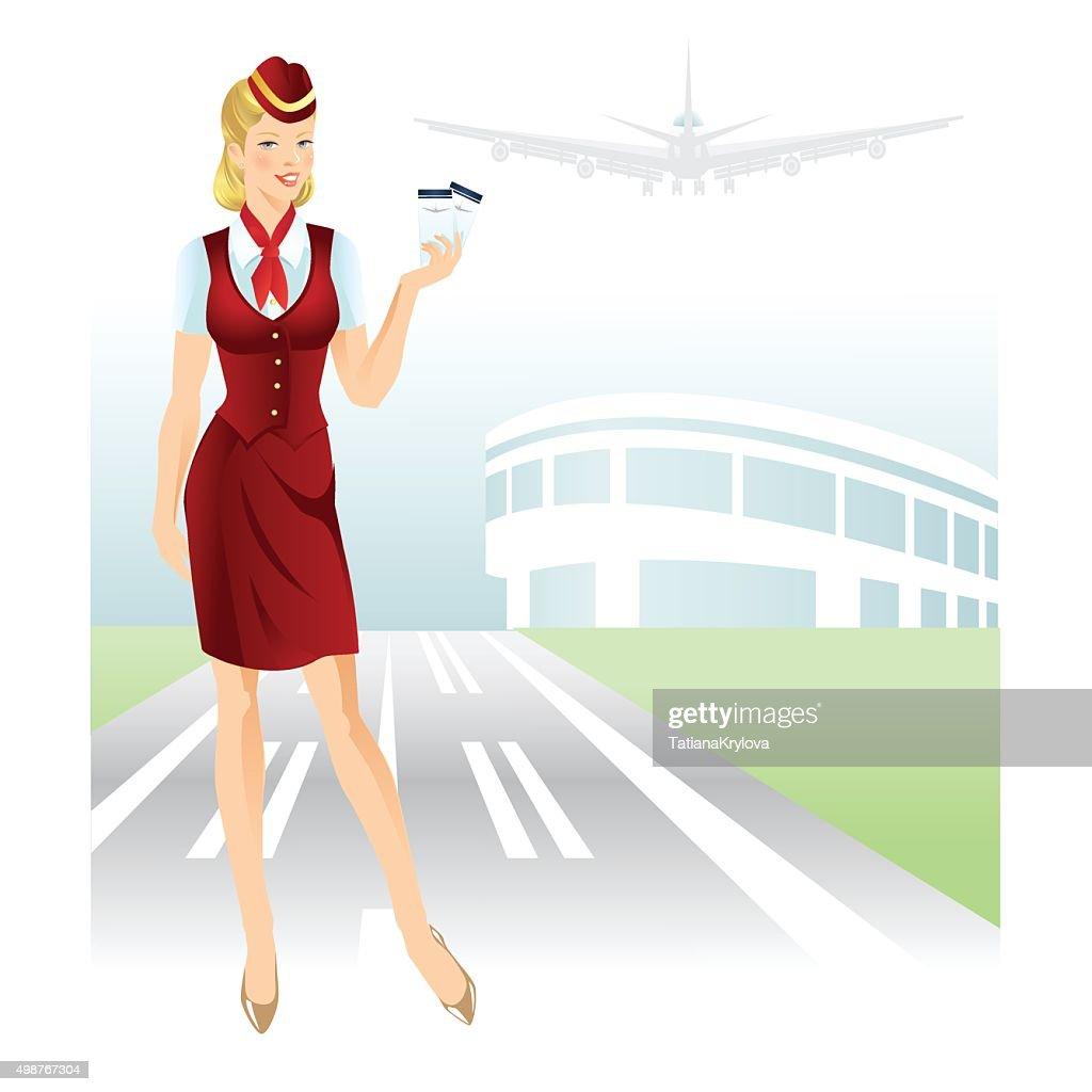 Stewardess holding ticket in her hand.