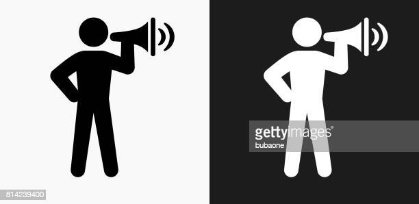 stick figure and megaphone icon on black and white vector backgrounds - political rally stock illustrations, clip art, cartoons, & icons
