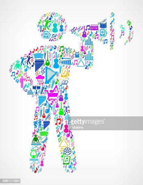 stick figure and megaphone  music and musical celebration vector icon background - political rally stock illustrations, clip art, cartoons, & icons