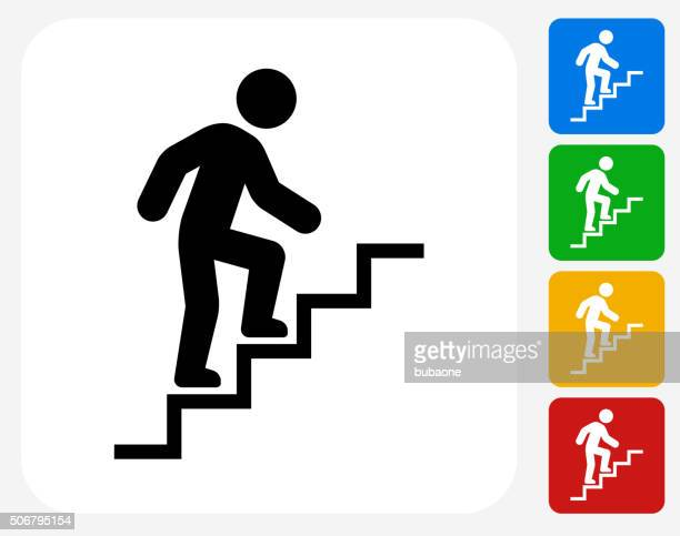 Stick Figure and Stairs Icon Flat Graphic Design