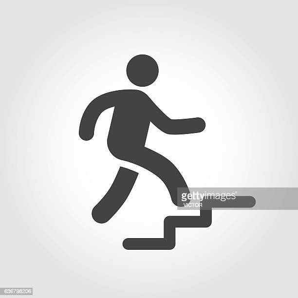 stick figure and stairs icon - iconic series - steps stock illustrations