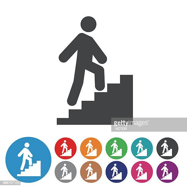 stick figure and stairs icons - graphic icon series - moving up stock illustrations