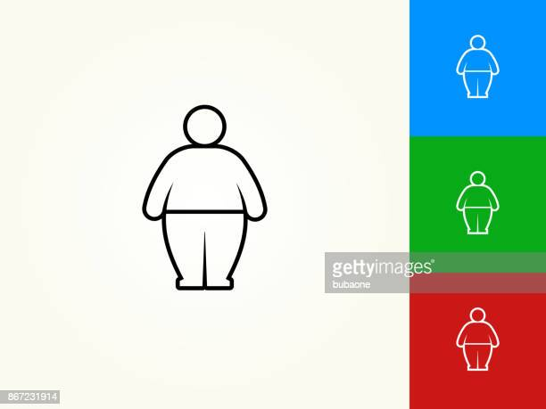 stick figure and weight gain black stroke linear icon - obesity icon stock illustrations