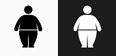Stick Figure and Weight Gain Icon on Black and White Vector Backgrounds