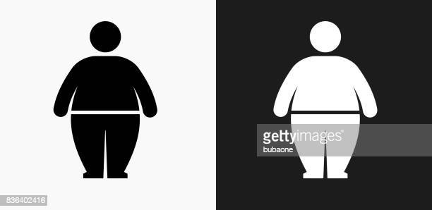 stick figure and weight gain icon on black and white vector backgrounds - heavy stock illustrations, clip art, cartoons, & icons