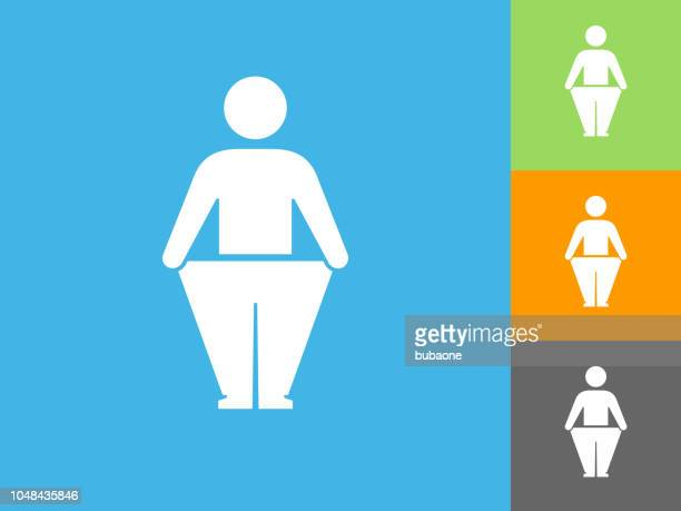 Stick Figure and Weight Loss Flat Icon on Blue Background