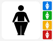 Stick Figure and Weight Loss Icon Flat Graphic Design