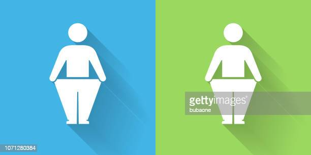 stick figure and weight loss icon with long shadow - underweight stock illustrations