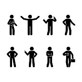 Stick figure business man standing set. Vector illustration of different human poses on white