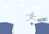 Stick figure businessman jumping over cliff and breaking the impossible into possible. Vector illustration concept in eps10 format