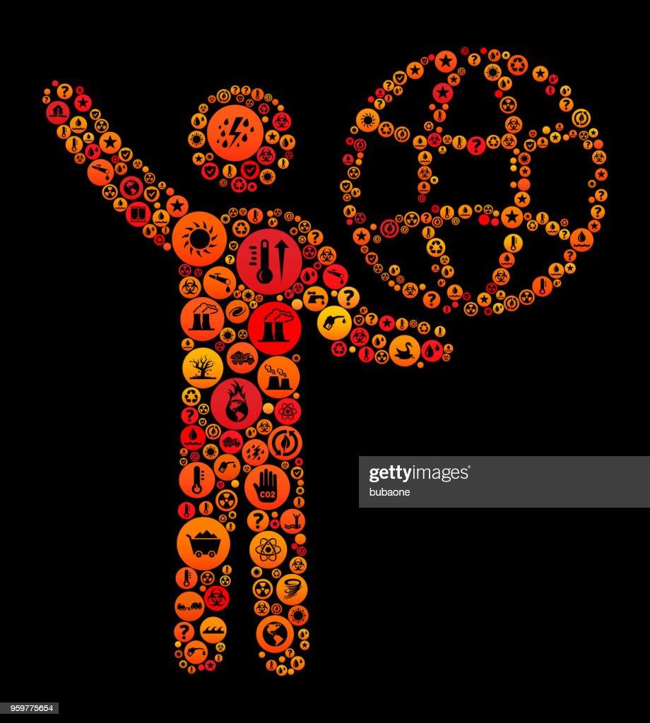 Strichmännchen mit Globe Climate Change Vektormuster Symbol : Stock-Illustration