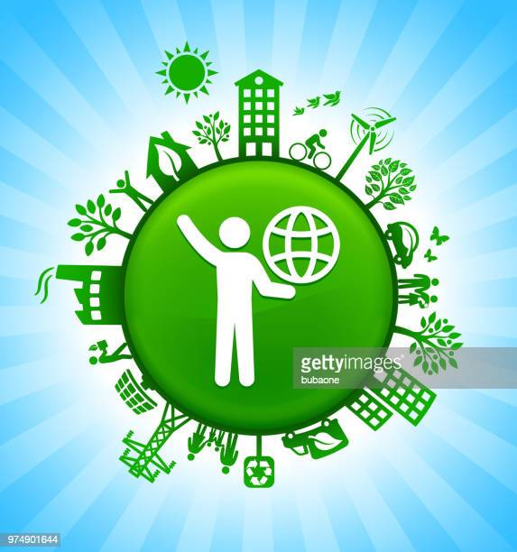 stick figure carrying globe environment green button background on blue sky - struggle stock illustrations