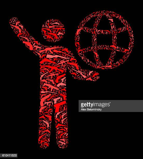 Stick Figure Carrying Globe Gun Icon Pattern Background