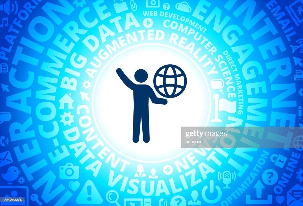 Stick Figure Carrying Globe Icon On Internet Modern