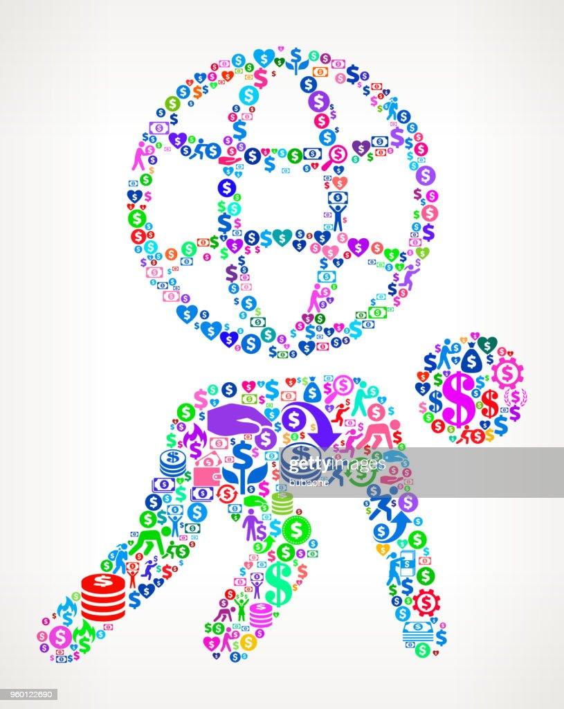 Strichmännchen mit Globus Geld Vektormuster Symbol : Stock-Illustration