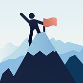 Stick figure character icon on top of the mountain snowy peak with a flag. Vector illustration design