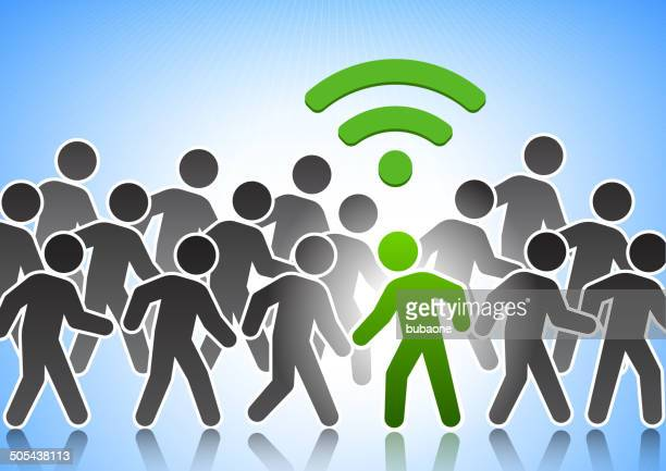 Stick Figure Connected to Wi-Fi in a Crowd