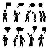 Stick figure dialog speech bubbles set. Talking, thinking, whispering body language man conversation icon pictogram