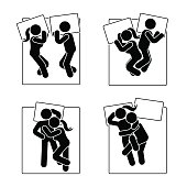 Stick figure different sleeping position set. Vector illustration of different dreaming couple poses icon symbol sign pictogram on white