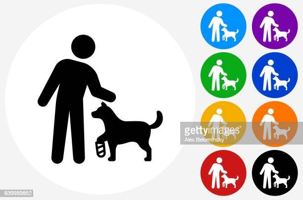 stick figure  disable dog icon on flat color circle buttons - disability stock illustrations, clip art, cartoons, & icons