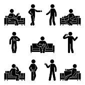 Stick figure drinking coffee set. Vector illustration of resting man on sofa