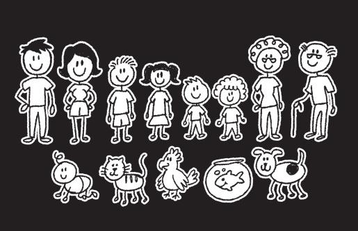 stick figure family on black - gettyimageskorea