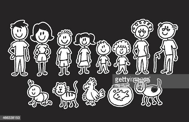 strichmännchen familie auf schwarz - strichmännchen stock-grafiken, -clipart, -cartoons und -symbole