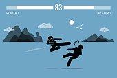 Stick figure fighter inside Video Game