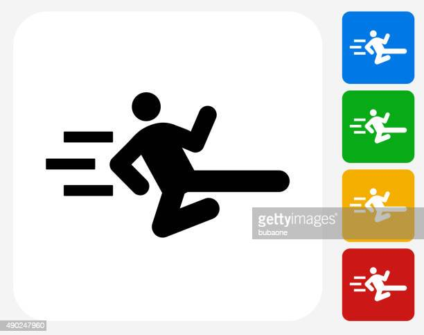 stick figure flying kick icon flat graphic design - only japanese stock illustrations, clip art, cartoons, & icons