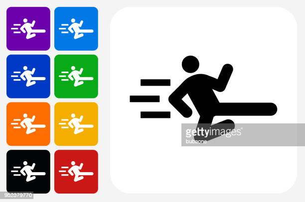 Stick Figure Flying Kick Icon Square Button Set