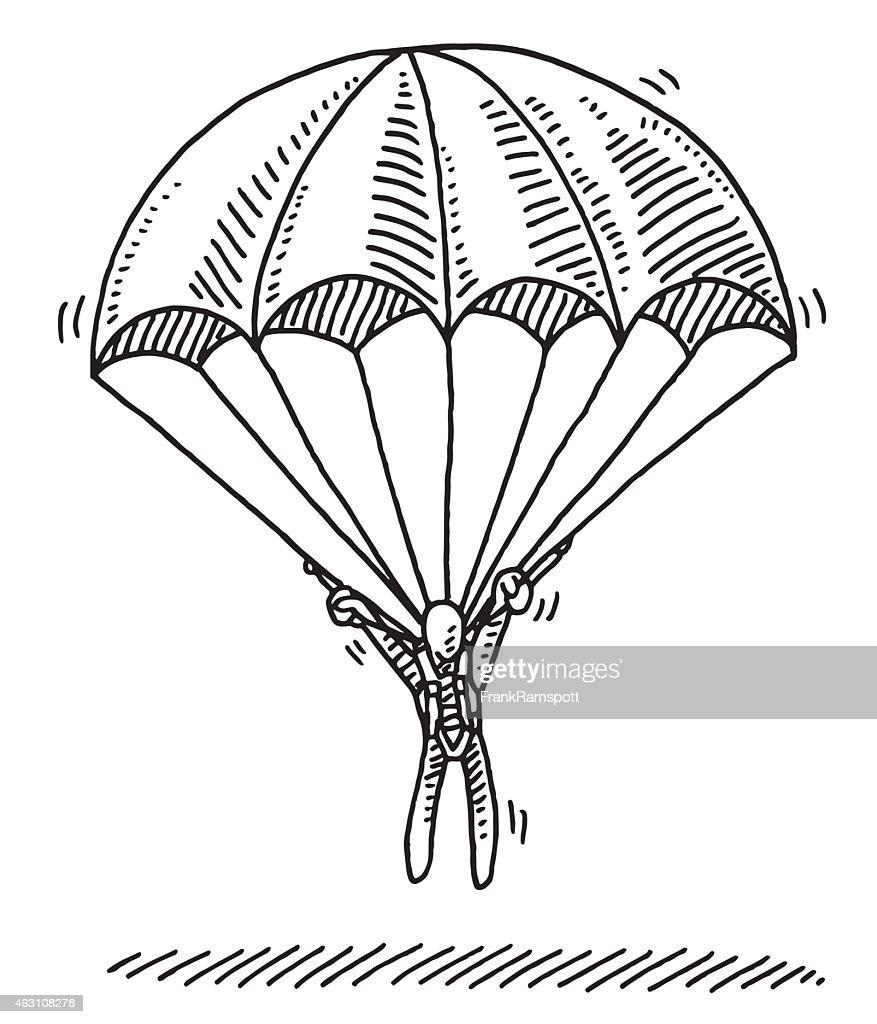 Stick figure hanging on parachute landing drawing vector - Dessin parachutiste ...