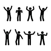 Stick figure happiness, freedom, motion set. Vector illustration of celebration poses pictogram