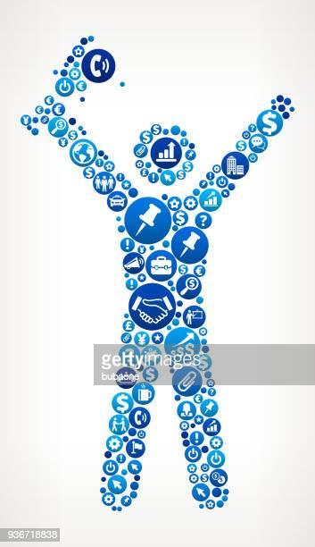 ilustrações, clipart, desenhos animados e ícones de stick figura segurando um troféu de negócios e finanças ícone azul padrão - trophy