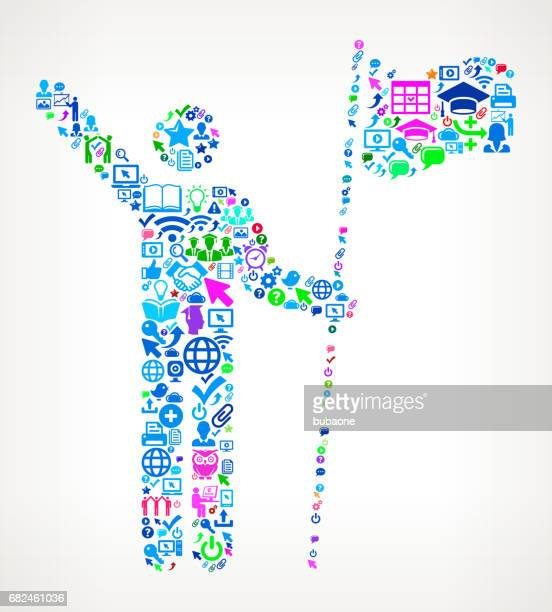 Stick Figure Holding Flag Modern Education and College Degree Icon Pattern