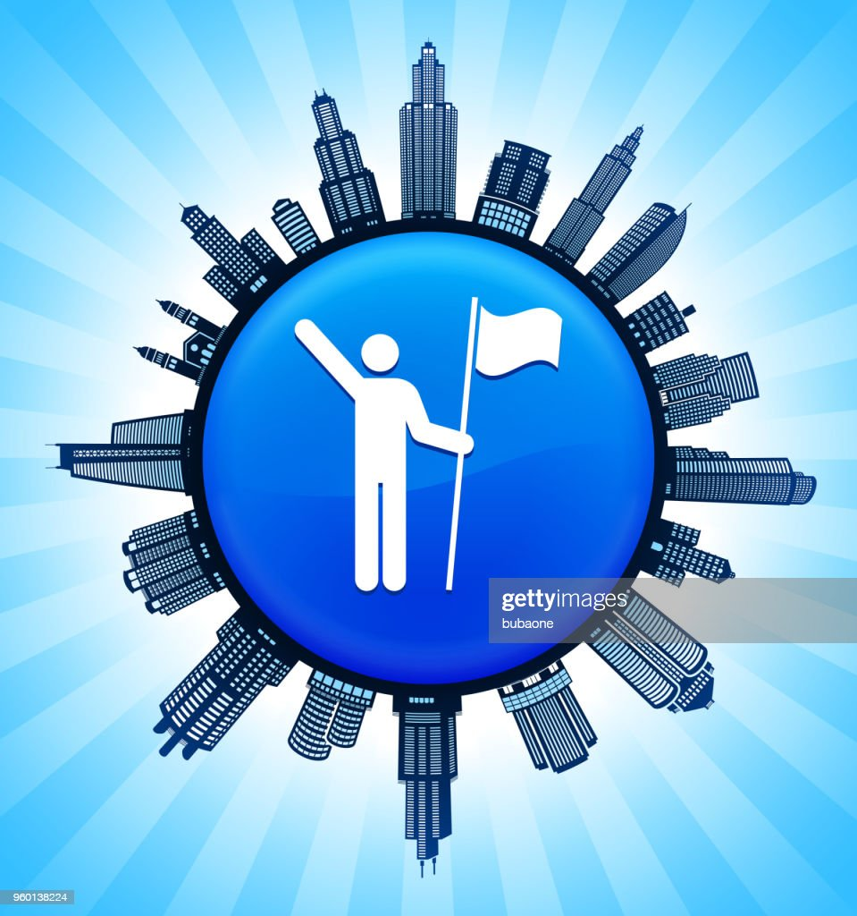 Strichmännchen mit Fahne auf modernen Stadtbild Skyline Hintergrund : Stock-Illustration