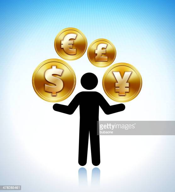 stick figure holding international coins - fiscal year stock illustrations