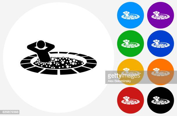 Stick Figure  Hot Tub Icon on Flat Color Circle Buttons