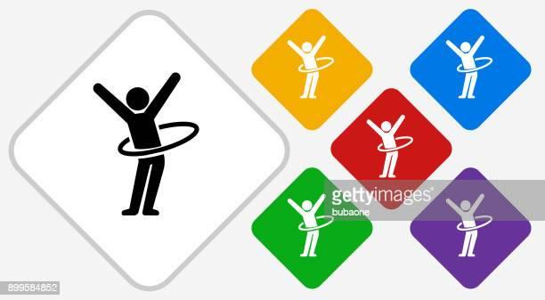 stick figure hula hooping color diamond vector icon - plastic hoop stock illustrations