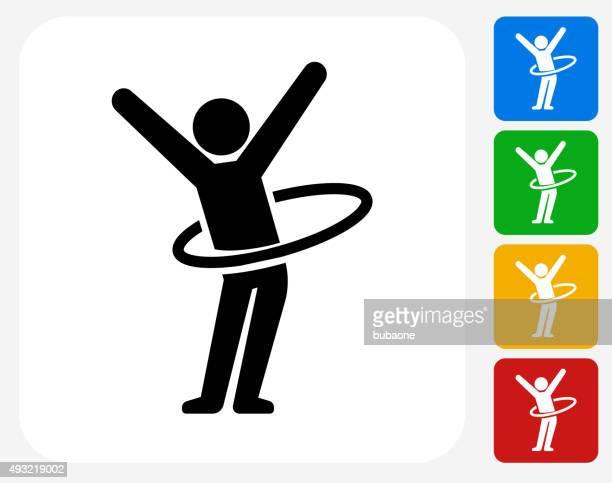 Strichmännchen Hula-Hoop-Symbol flache Grafik Design