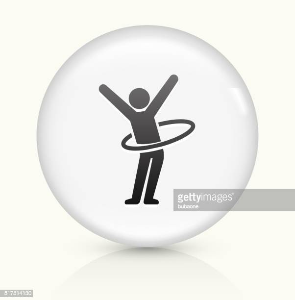 stick figure hula hooping icon on white round vector button - plastic hoop stock illustrations