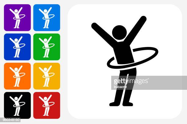 stick figure hula hooping icon square button set - plastic hoop stock illustrations