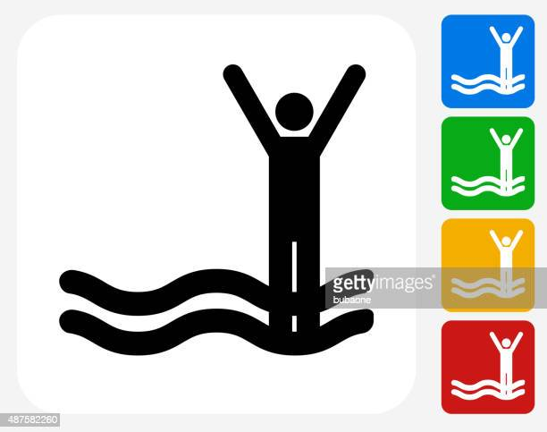 stick figure in flood icon flat graphic design - relief carving stock illustrations